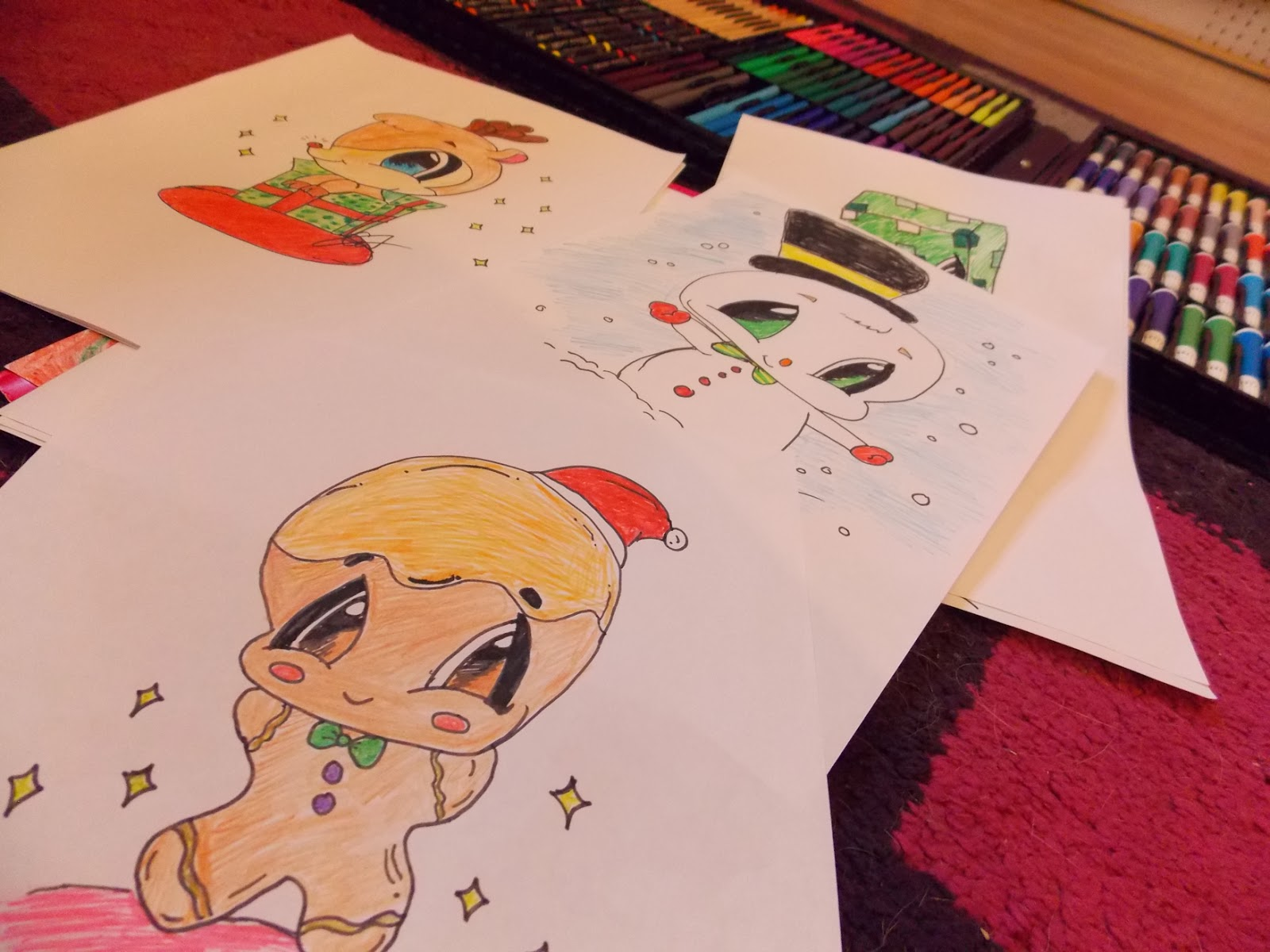 this is me sarah mum of 3 christmas drawings with the ryman art set