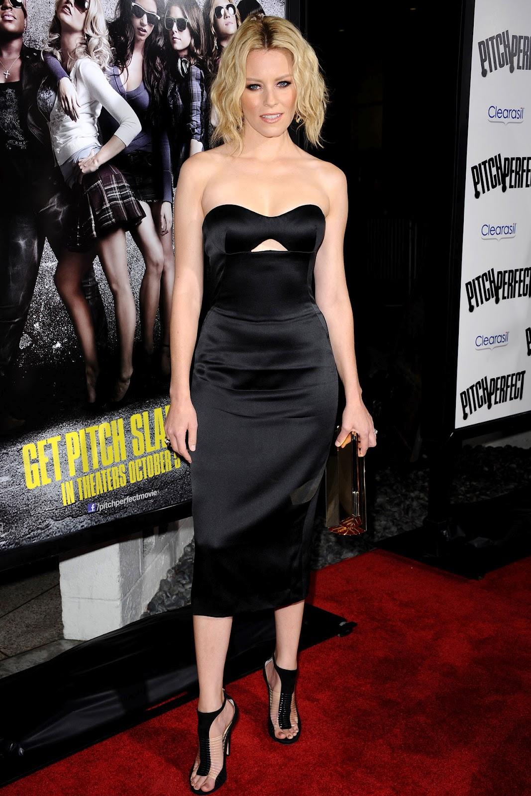 Elizabeth Banks Wearing Black Satin Strapless Dress