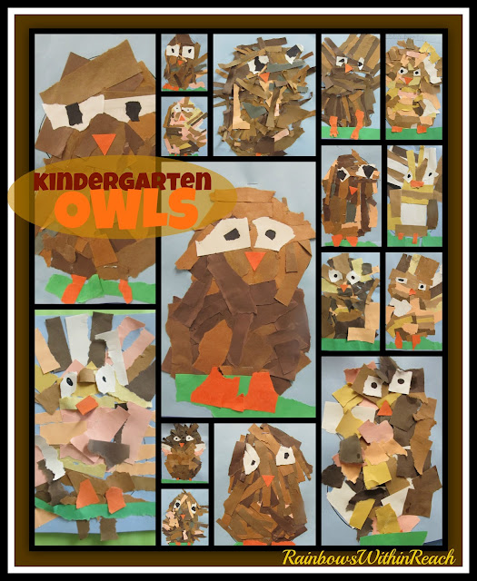 photo of: Torn Paper Owl Projects in Kindergarten via RainbowsWithinReach