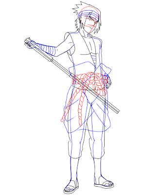 menggambar sasuke uchiha black costume langkah 20