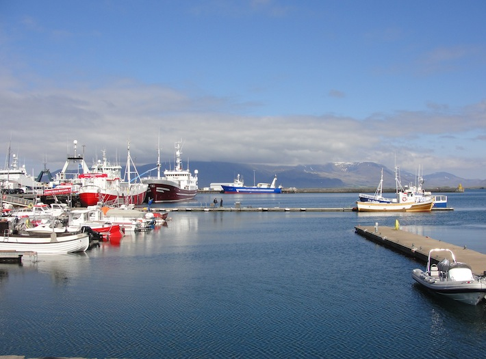 sunny june day along the old harbor in reykjavik iceland
