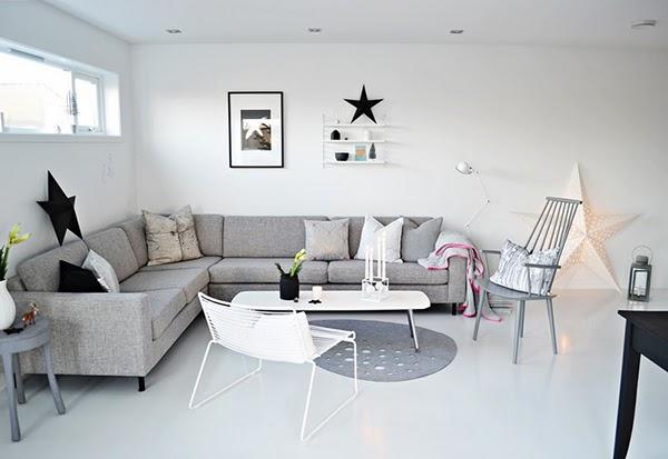Inspiraci n estrellas en un sal n gris y sorteo express for Sofa esquinero grande