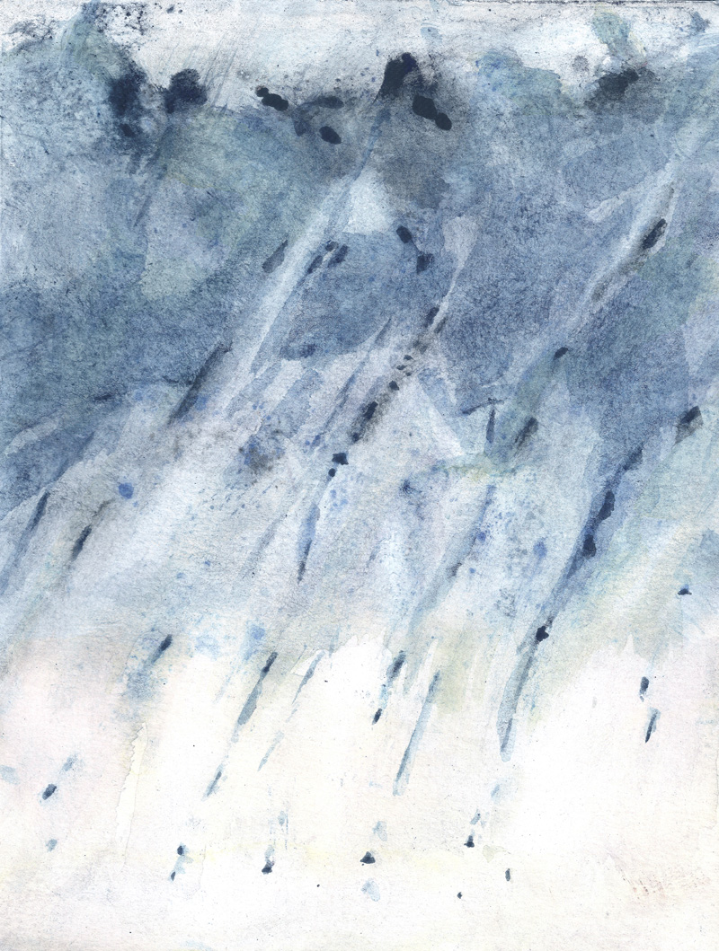 rain, blue painting, weather, contemporary art, white, monochrome painting