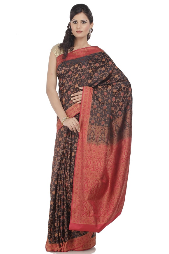 Black Satin Banarasi Saree