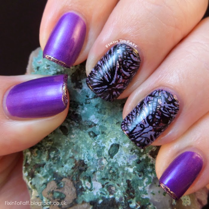 Double-Stamped Glittery Purple Butterfly Nail Art