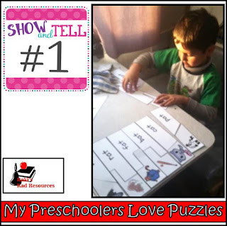 Show and tell time - what does homeschooling in an RV really look like? Find out in this blog post by Heidi Raki of Raki's Rad Resouces and RVing with the Rakis. Creating an AT family puzzle with the preschooler.