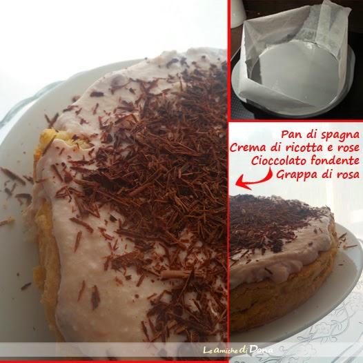 torta di compleanno light con pan di spagna per celiaci con crema di ricotta e rose al profumo di grappa e cioccolato fondente