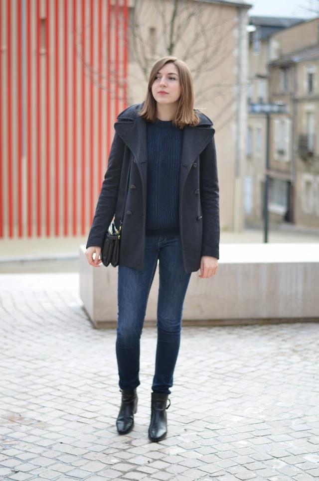 jean bleu manteau camaieu