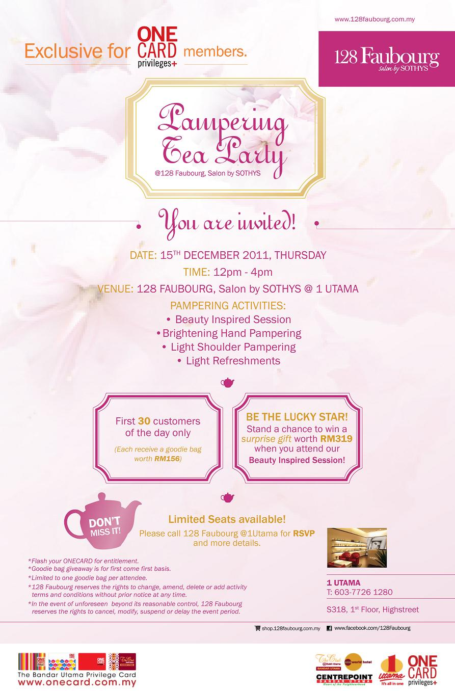 Bestlah 128 faubourg pampering tea party 1 utama free for 128 faubourg salon by sothys