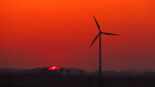 Sunset and Wind Turbine