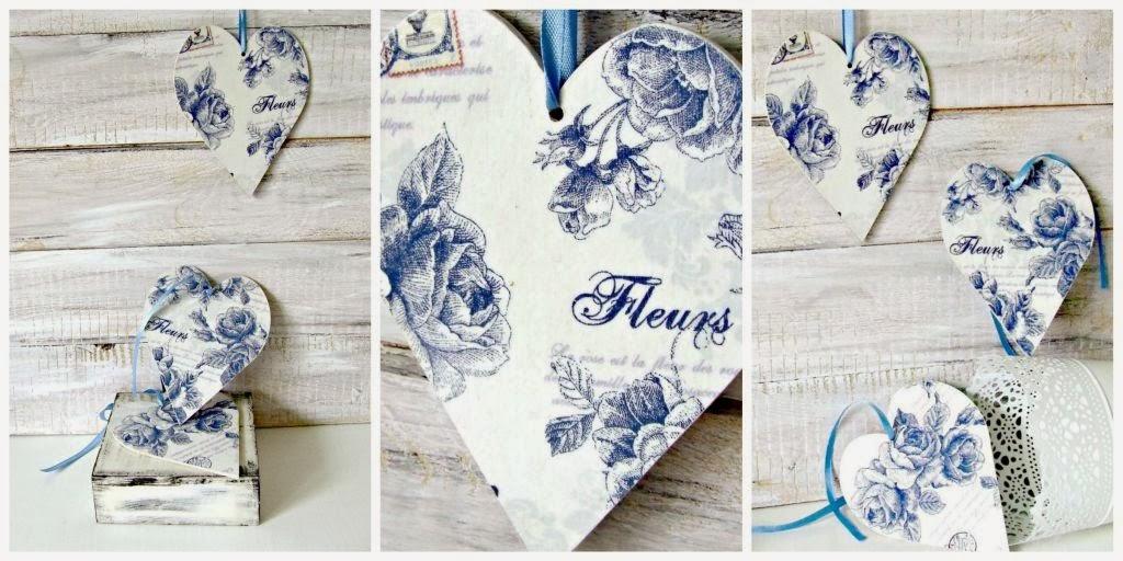 serca decoupage z motywem kwiatowym by Eco Manufaktura