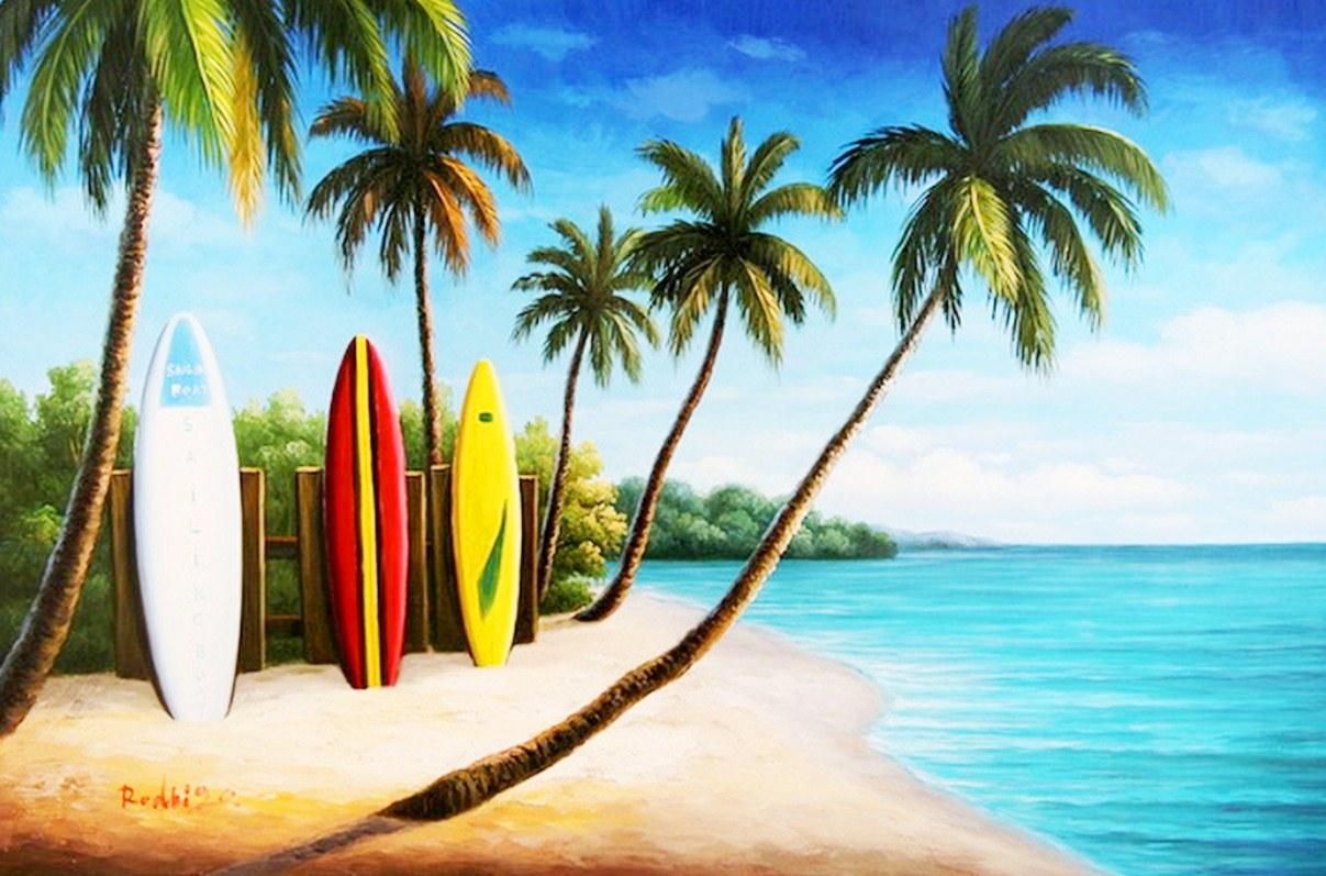 Imágenes Arte Pinturas: Paisajes con Palmas y Tablas de Surf