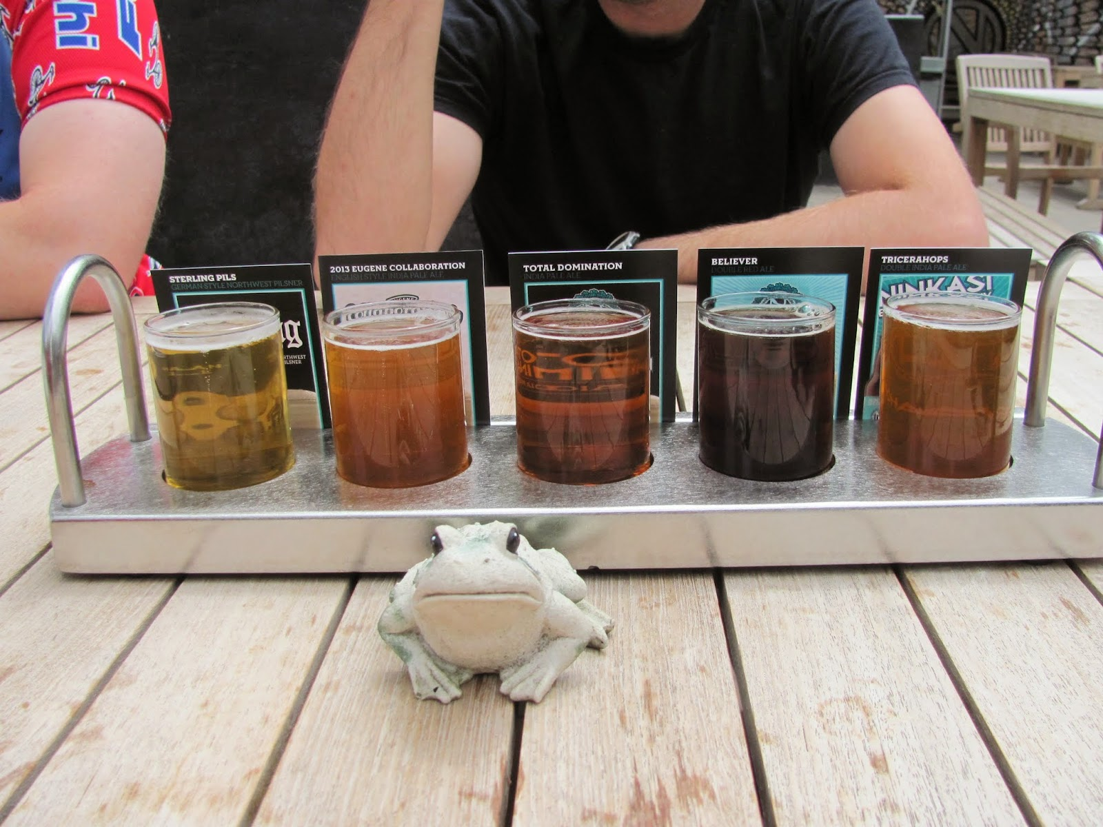 Frog poses with the flight of beverages at Ninkasi Brewing in Eugene, Oregon