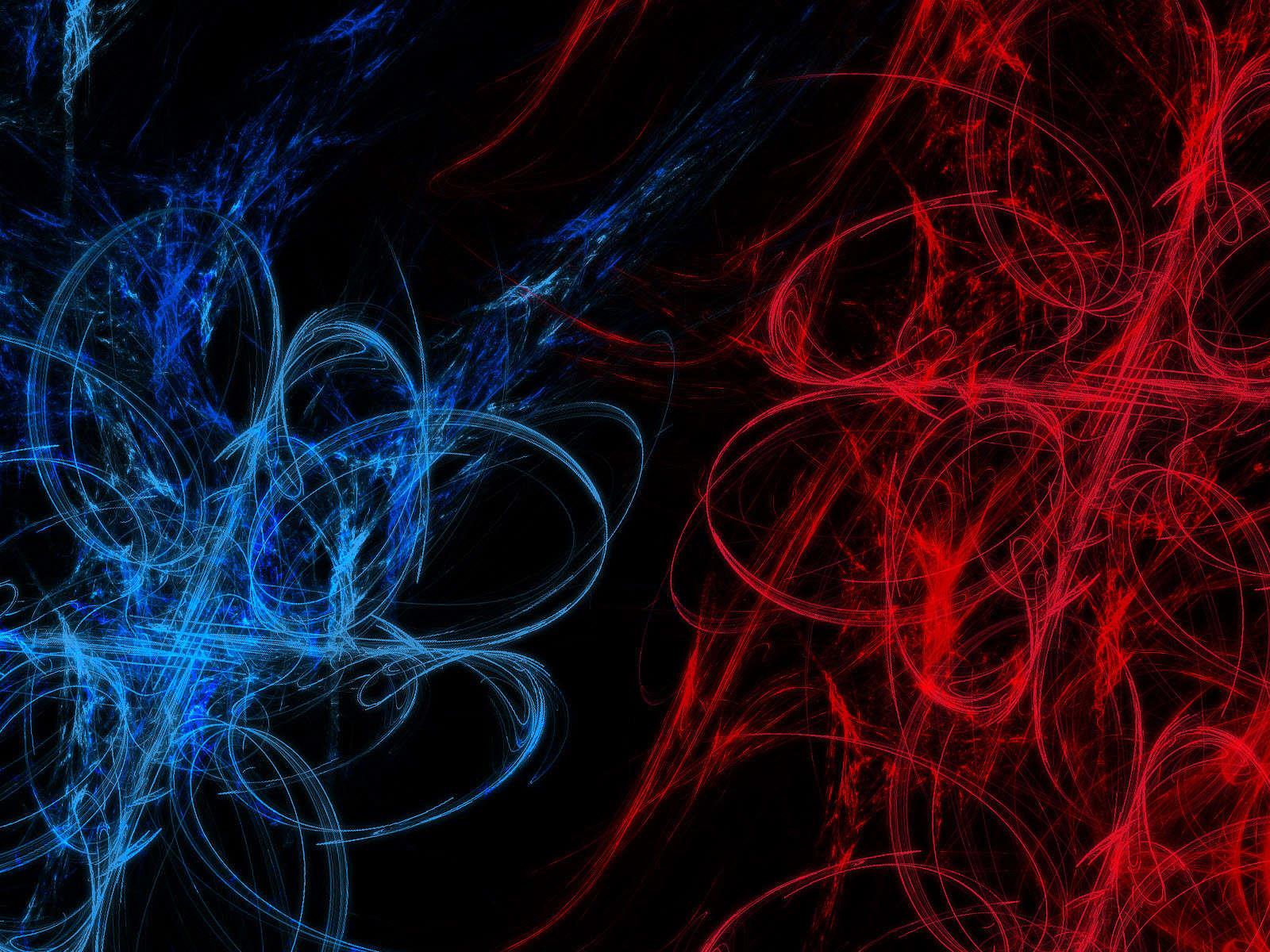 Abstrato Em Azul E Vermelho   Fundo Preto