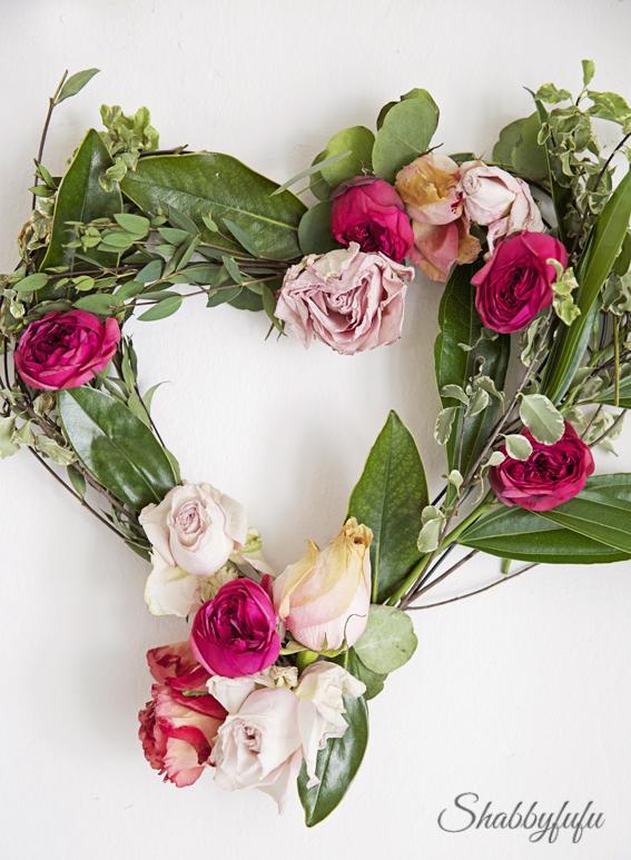 diy valentines day floral heart wreath  shabbyfufu, Beautiful flower