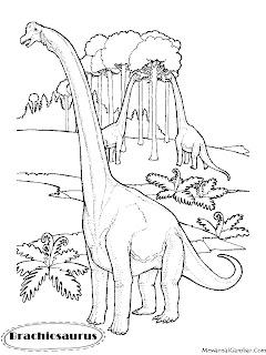 Download Gambar Mewarnai Dinosaurus Brachiosaurus