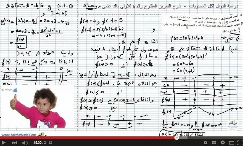 تصحيح تمرين حول استنتاج جدول تغيرات دالة عددية انطلاقا من دراسة دالة مساعدة1ba et 2bac