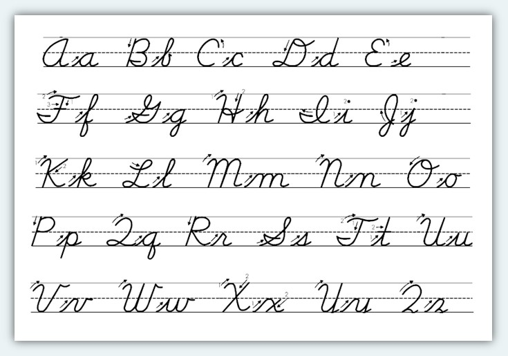 alphabet cursive writing worksheets