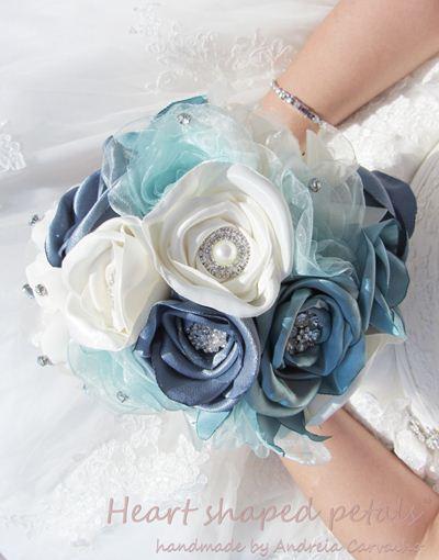 Bridal rose bouquet brooch