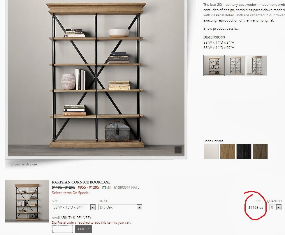 So what happens when you really like a bookshelf from RH, but see it as  utter madness to dish