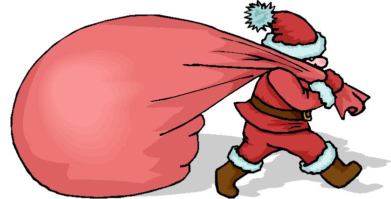 Santa Bring a Big Present Free Clipart