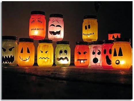 Calabazas para Halloween con tarros de cristal