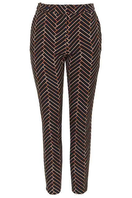 chevron cigarette trousers, chevron print trousers, black brown print trousers,