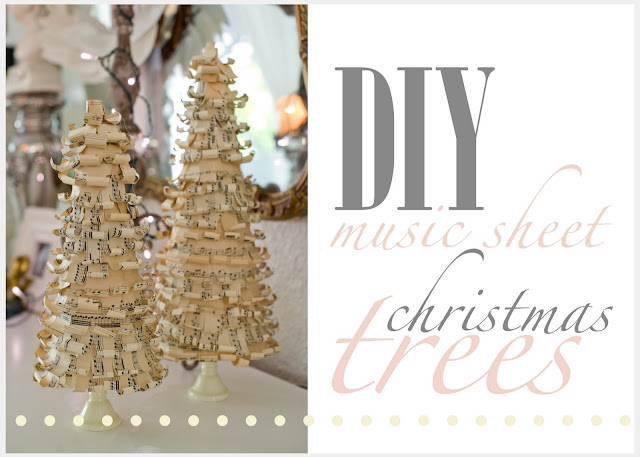 DIY music sheet covered Christmas trees