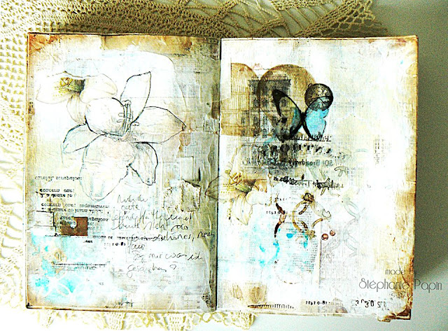 Scraps of Elegance scrapbook kits: Mixed Media Double Art Journal Pages With Multiple Image Transfers Photo Tutorial