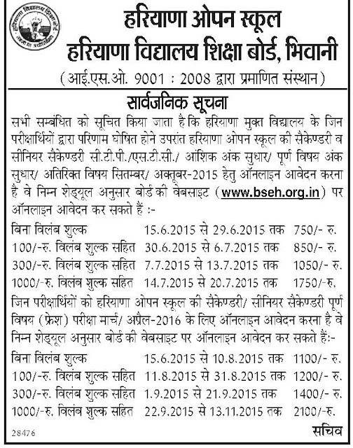 Haryana open hos re-evaluation form and re-checking form dates and fees