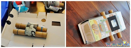 Homemade cardboard toy TV 2