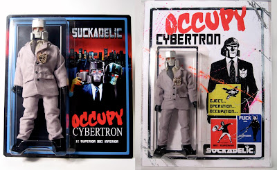 &#8220;Occupy Cybertron&#8221; 1 Percent 8 inch Mego-style Action Figure by Sucklord - Standard Edition Blister Card &amp; Deluxe Edition Wood Mounted