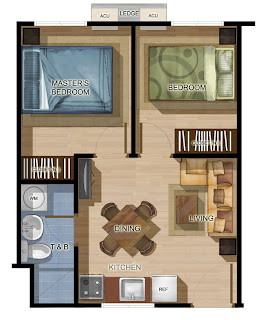 One Spatial Pasig Two Bedroom Unit Plan