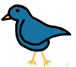 Blue cartoon bird