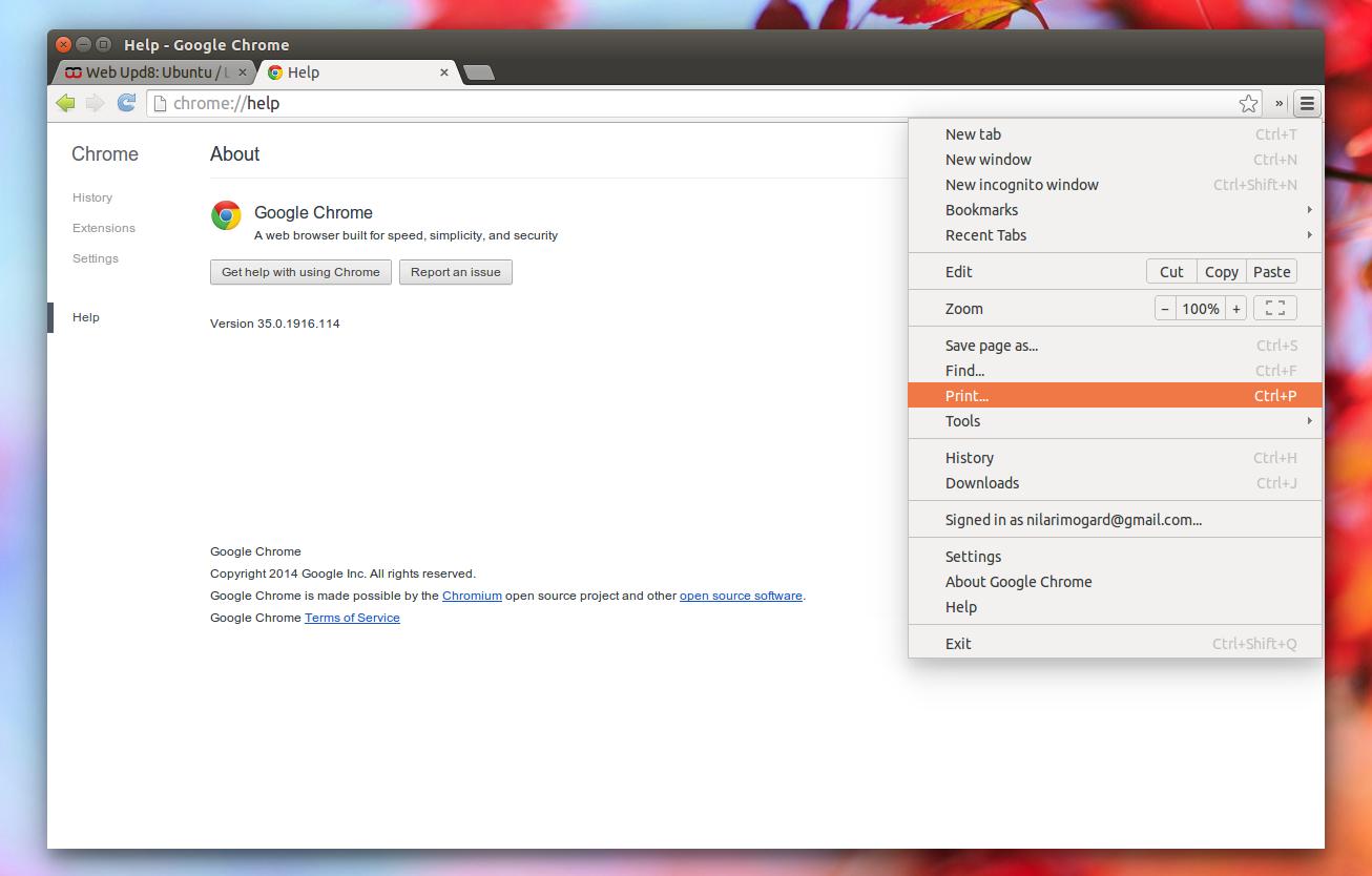 Google themes ubuntu 14.04 - Google Chrome Stable Aura Linux