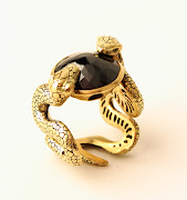 Enamel and crystals gold snake ring. From Kohl's. Black diamond gold ring.