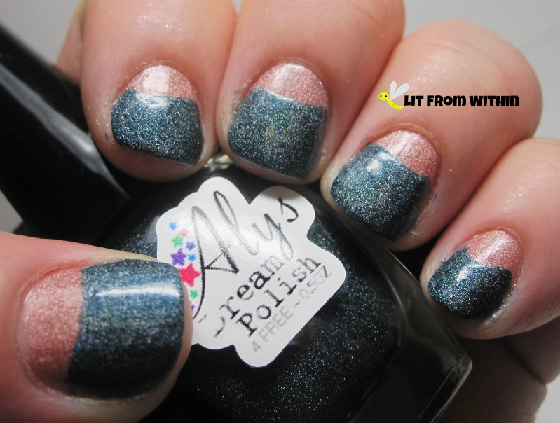 I added Aly's Dream Polish Deep Steel Blue, leaving Melon as a half-moon detail