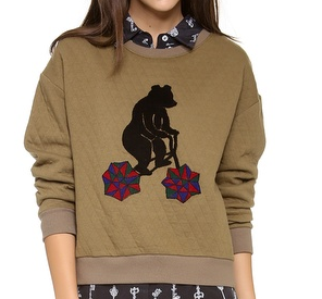 cute animal sweatshirt, fashion, trends, fashion trends, trendspotting, trend-spotting, Stripe By N Bear Quilt Sweatshirt