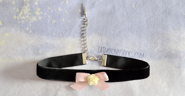 The black velvet ribbon-and-rose-embellished choker from Milkstud is very well-made, with a soft fabric, a cute design, and a handy extender chain with an attached spike.