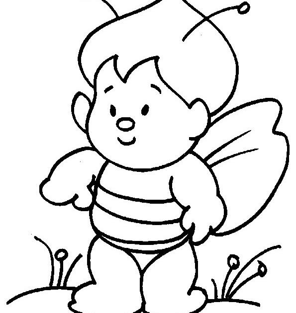 Imagenes para colorear: Dibujo de niño disfrazado de abeja para ...