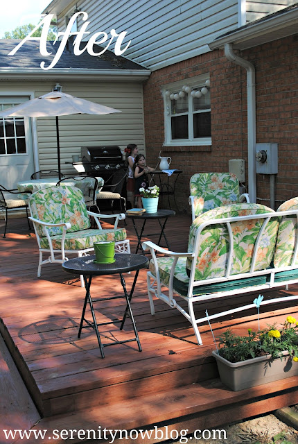 Our Deck with Vintage Patio Furniture, from Serenity Now