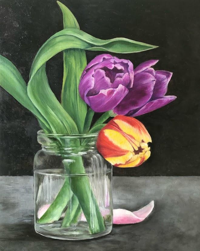 """Three Tulips (Oil on wood 8""""x 10"""")"""