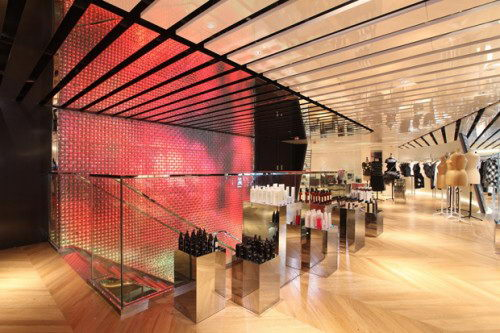 I.T. Hysan One Department Store Design, Hongkong, Red Atmosphere at Stairs, Dept Store Design, Departement Store Design, Interior Design, Store Design, Architecture, Contemporist Store Design, Contemporist Design