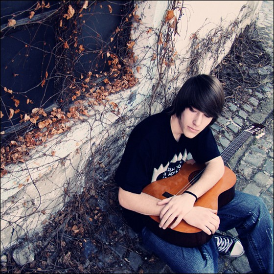 Cute alone boy adorable guitar beautiful fashionable ...