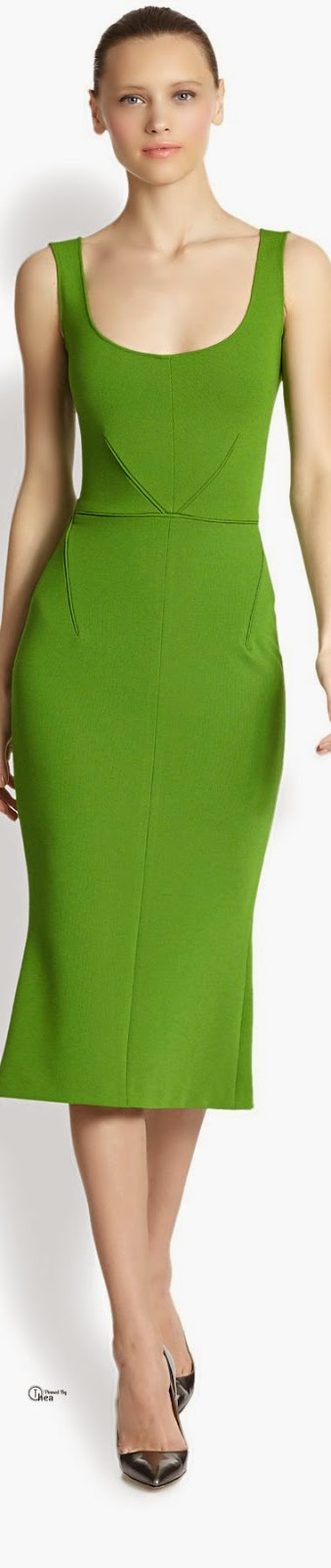 Zac Posen ● Green Flared Midi Dress