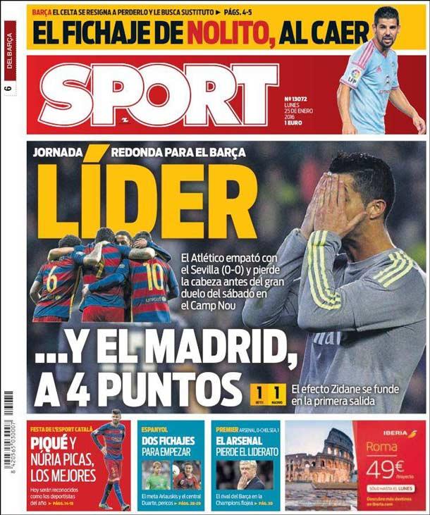 Portada del periódico Sport, lunes 25 de enero de 2016