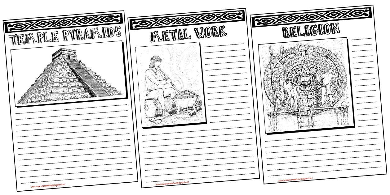 Imans HomeSchool Aztec Inca Maya Notebooking Pages – Aztec Worksheets