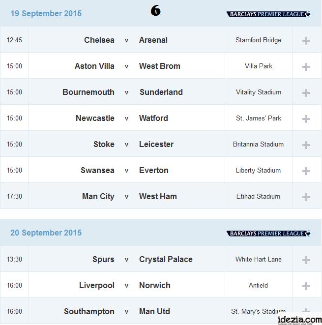 Jadwal Liga Inggris Pekan ke-6 19 20 September 2015