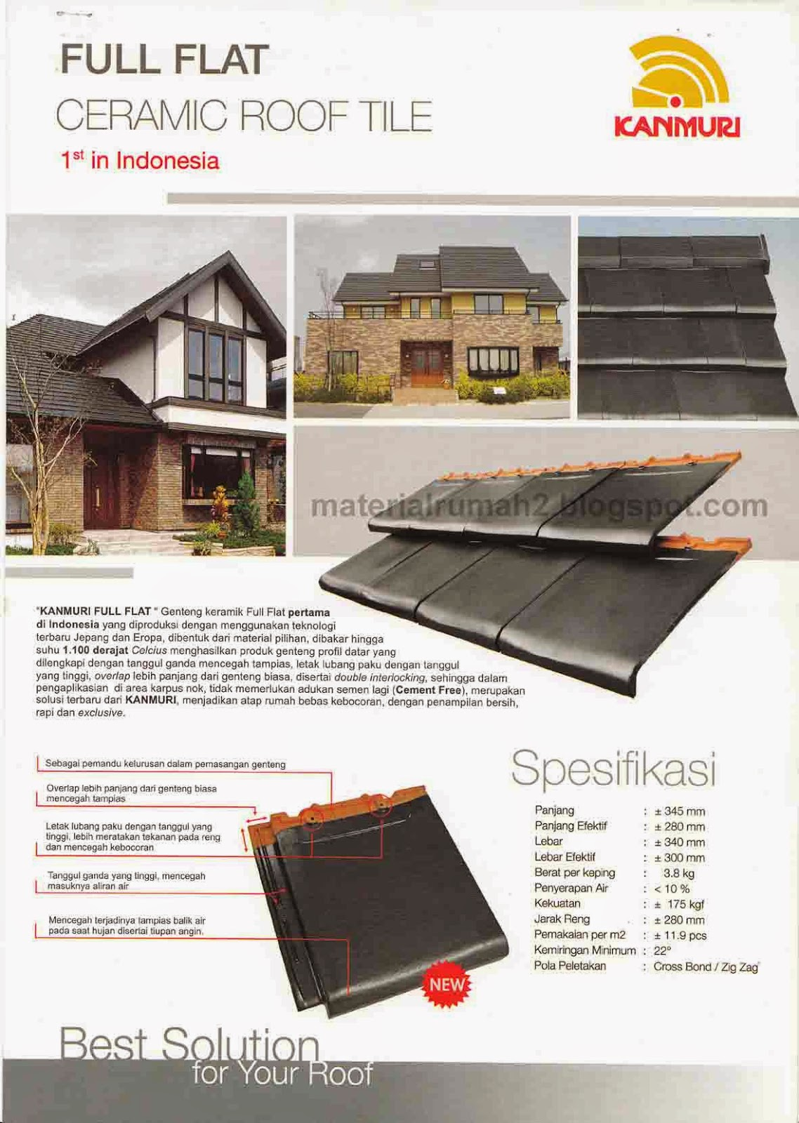 Daftar Harga Genteng Keramik KANMURI FULL FLAT 2014 | Material Rumah