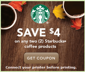 Starbucks Coupon for $4.00 off 2 items